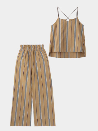 [KEnTe] Wide Striped Set Up(BROWN-M)