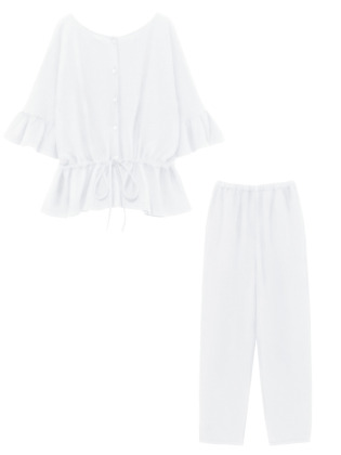 [KEnTe] Cotton Frill Set Up(WHITE-M)