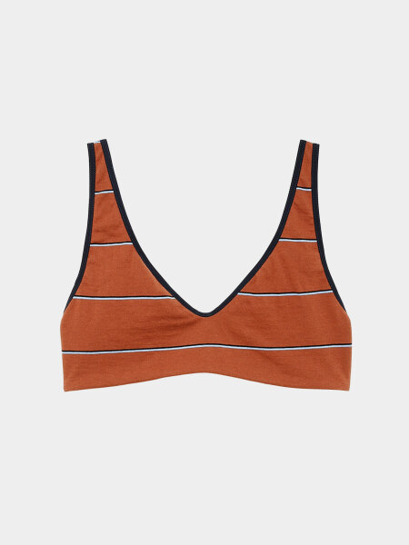 [KEnTe] V-neck Border Bra(BROWN-S/M)