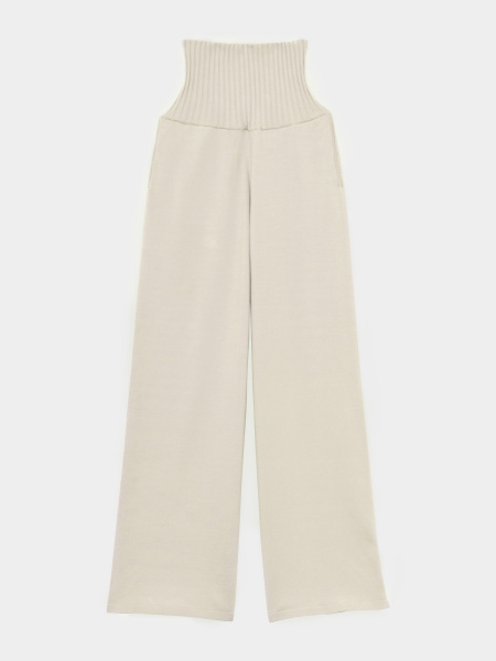 [KEnTe] Simple  Knit Wide Pants(GRAY BEIGE-M)
